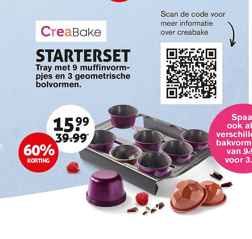 Hoogvliet CreaBake Starterset : Tray Met 9 Muffinvormpjes En 3 Geometrische Bolvormen 60% Korting
