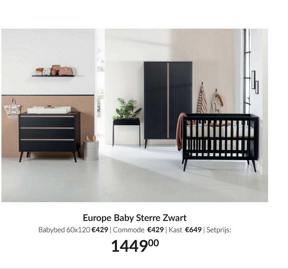 Babypark Europe Baby Sterre Zwart Babybed 60x120 | Commode | Kast