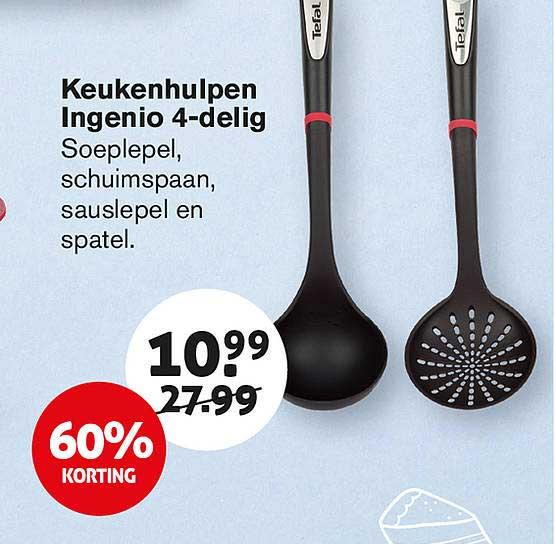 Hoogvliet Keukenhulpen Ingenio 4-Delig : Soeplepel, Schuimspaan, Sauslepel En Spatel 60% Korting