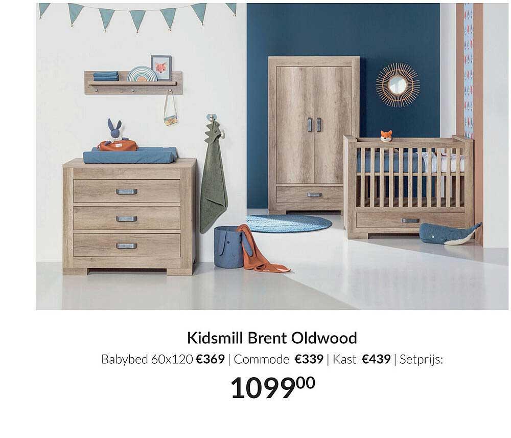 Babypark Kidsmill Brent Oldwood Babybed 60x120 | Commode | Kast