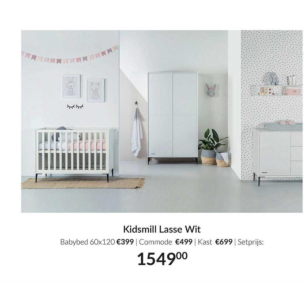Babypark Kidsmill Lasse Wit Babybed 60x120 | Commode | Kast