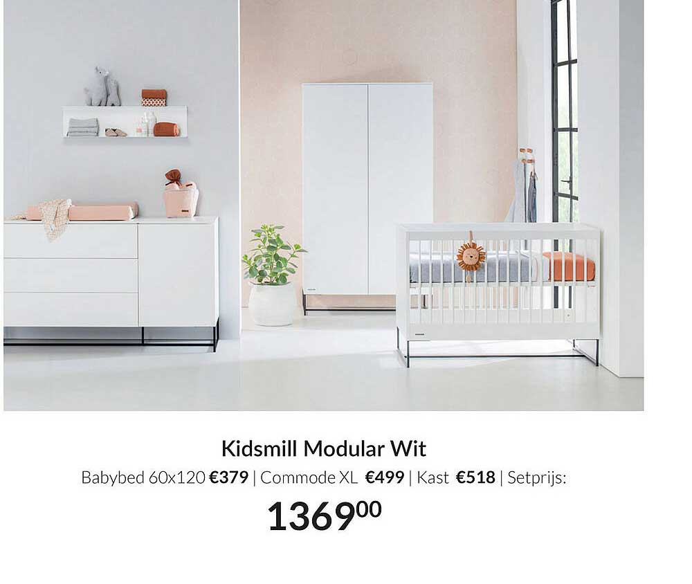 Babypark Kidsmill Modular Wit Babybed 60x120 | Commode XL | Kast