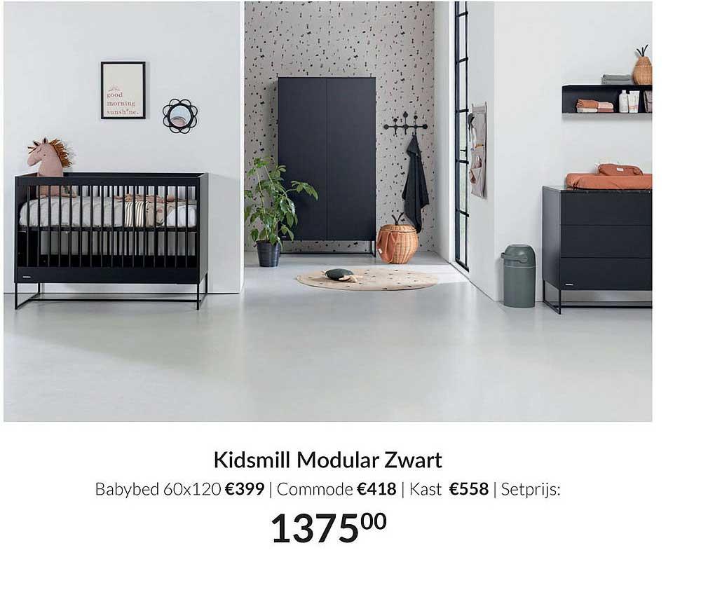 Babypark Kidsmill Modular Zwart Babybed 60x120 | Commode | Kast