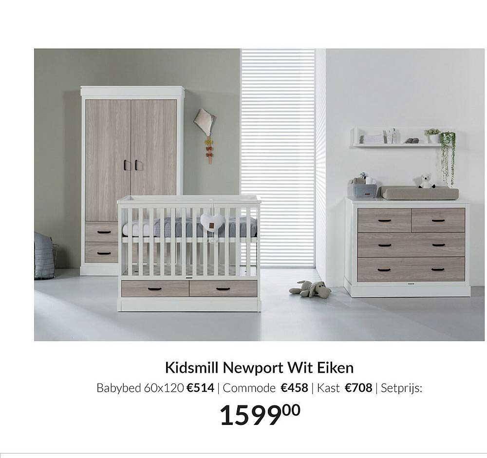 Babypark Kidsmill Newport Wit Eiken Babybed 60x120 | Commode | Kast