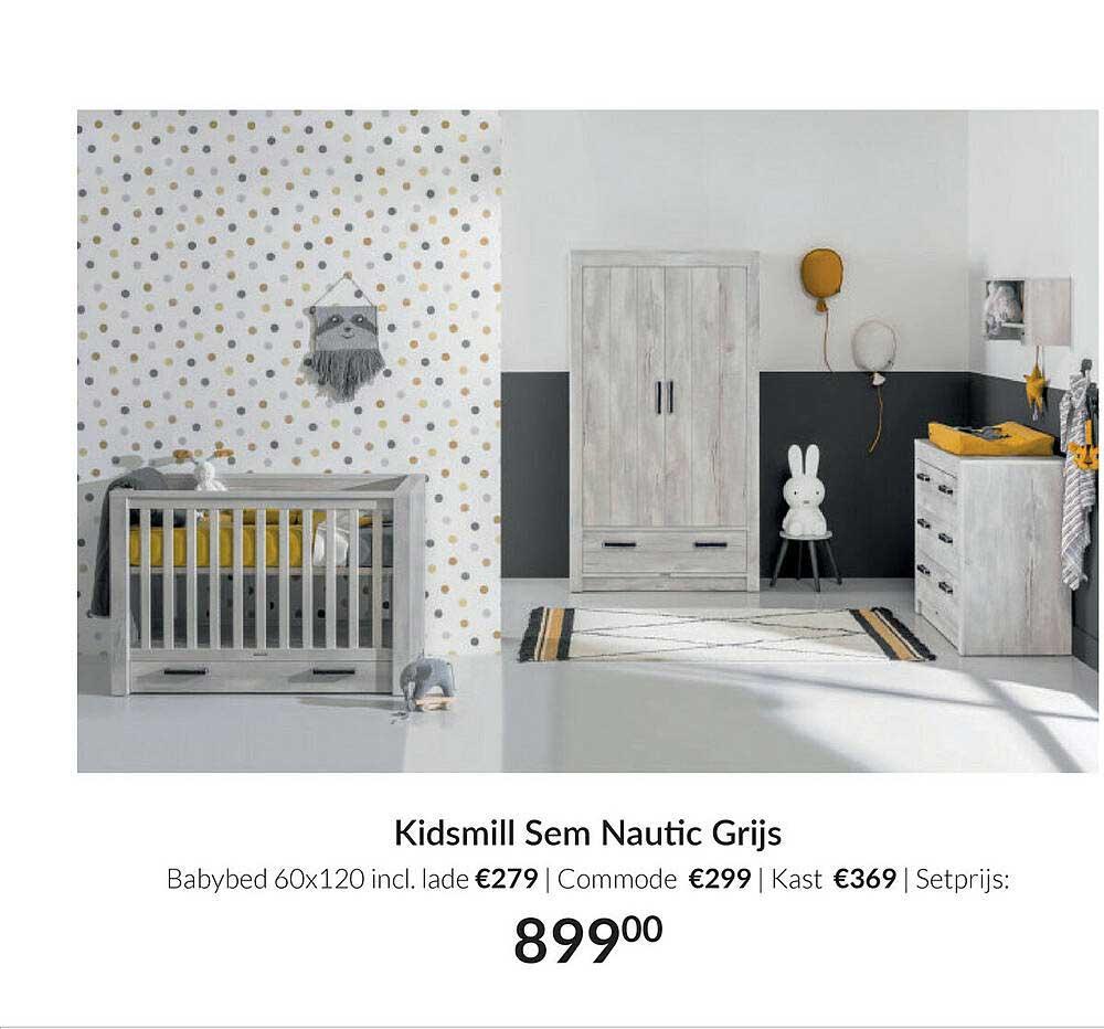 Babypark Kidsmill Sem Nautic Grijs Babybed 60x120 | Commode | Kast