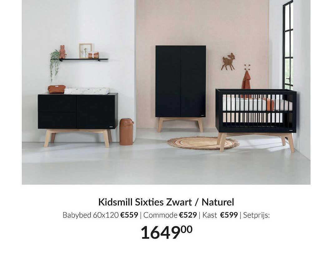 Babypark Kidsmill Sixties Zwart - Naturel Babybed 60x120 | Commode | Kast