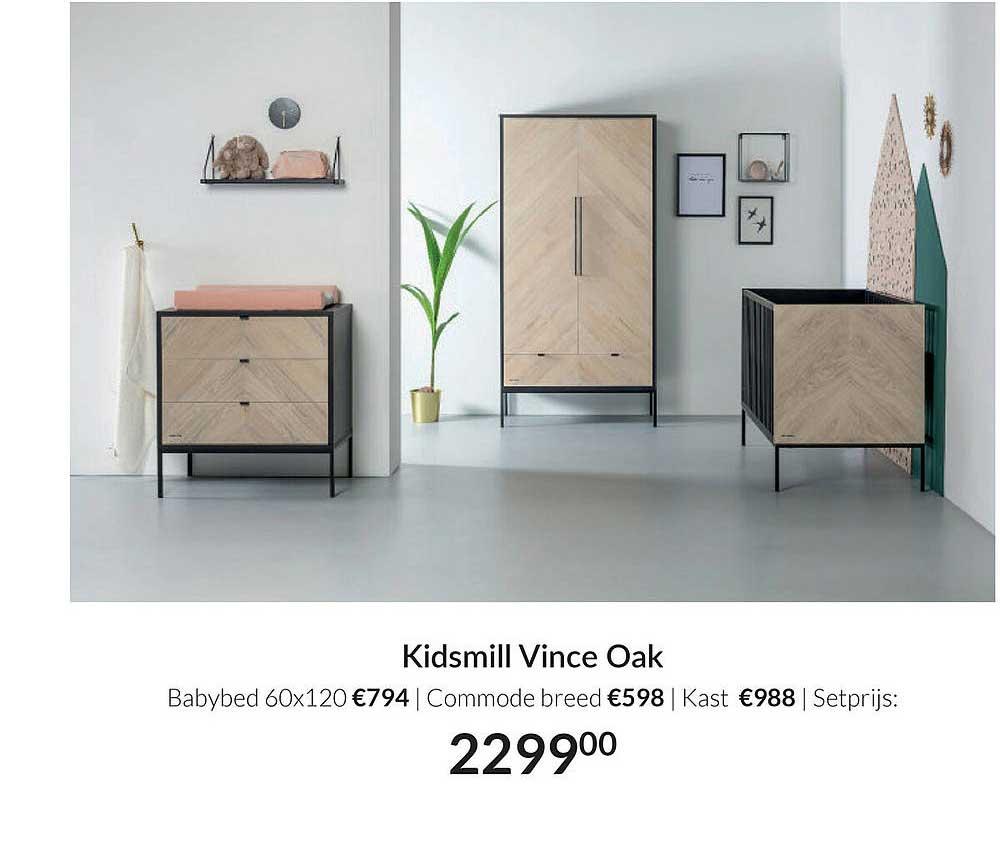 Babypark Kidsmill Vince Oak Babybed 60x120 | Commode Breed | Kast