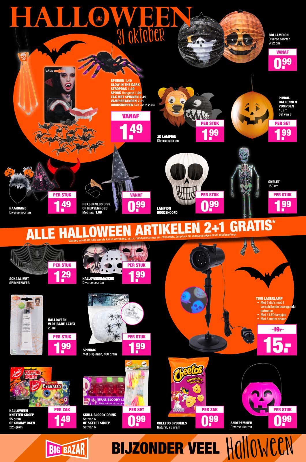 Big Bazar Alle Halloween Artikelen: 2+1 Gratis