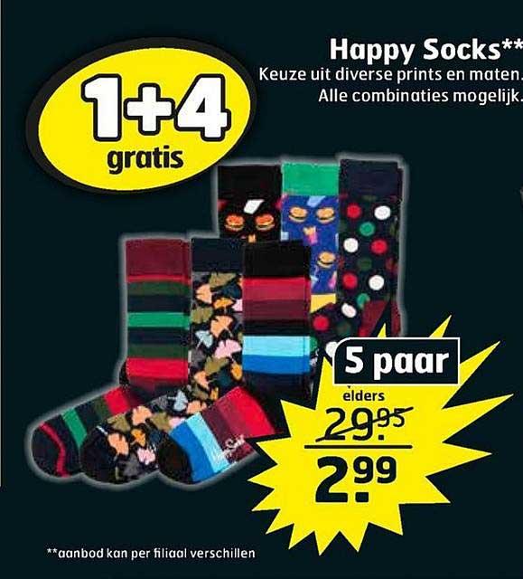 Trekpleister Happy Socks 1+4 Gratis