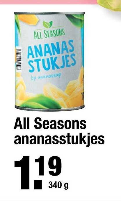 ALDI All Seasons Ananasstukjes