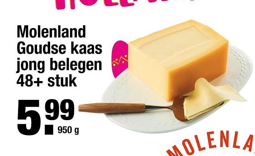 ALDI Molenland Goudse Kaas Jong Belegen 48+ Stuk