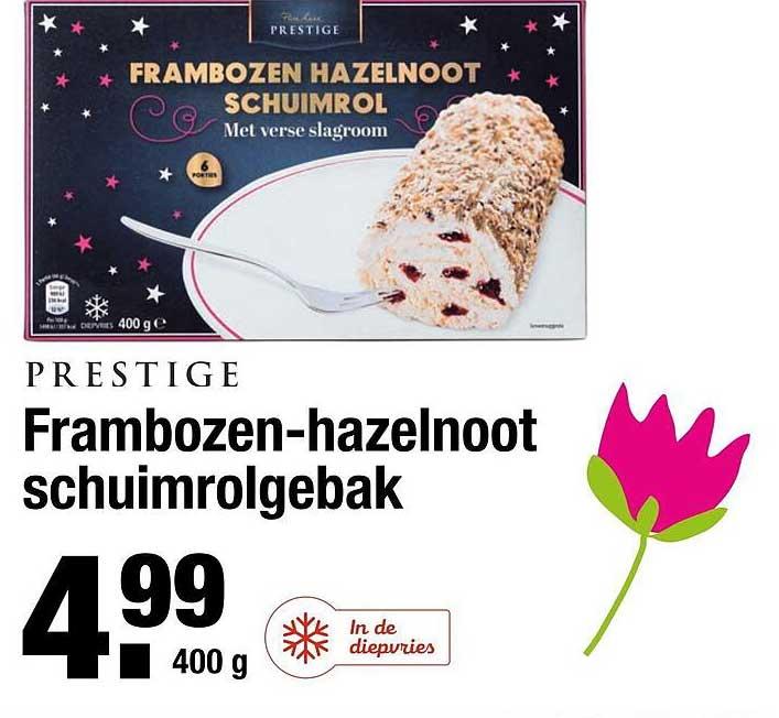 ALDI Prestige Frambozen-Hazelnoot Schuimrolgebak