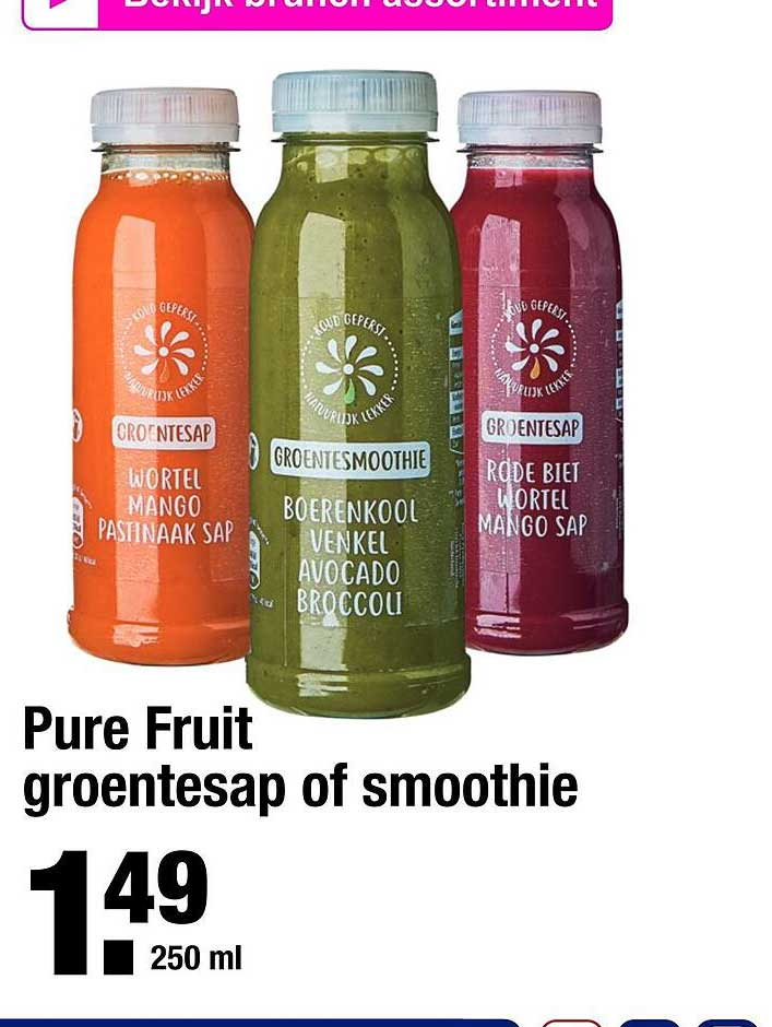 ALDI Pure Fruit Groentesap Of Smoothie