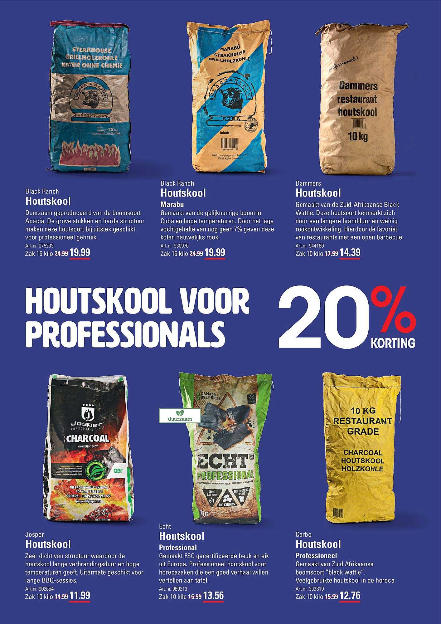 Sligro Houtskool Voor Professionals: 20% Korting