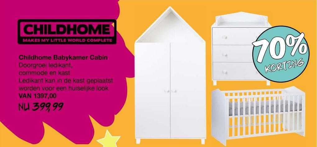 Van Asten Childhome Babykamer Cabin : Doorgroei Ledikant, Commode En Kast 70% Korting