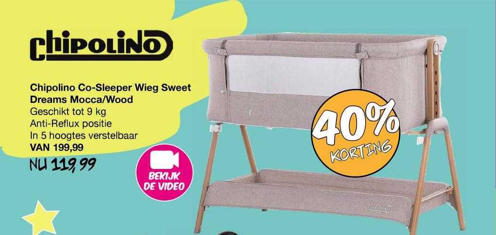 Van Asten Chipolino Co-Sleeper Wieg Sweet Dreams Mocca-Wood 40% Korting