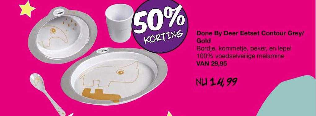 Van Asten Done By Deer Eetset Contour Grey-Gold 50% Korting