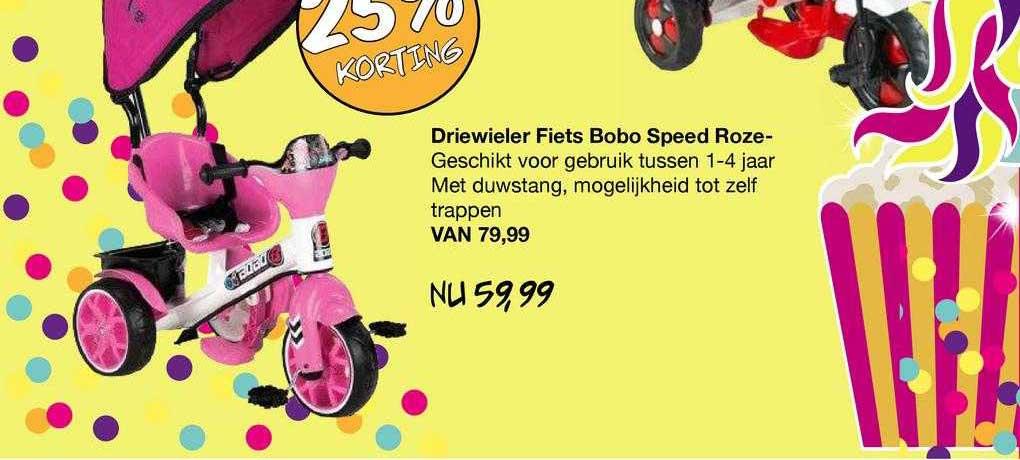 Van Asten Driewieler Fiets Bobo Speed Roze- 25% Korting