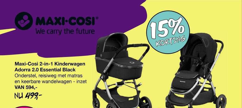 Van Asten Maxi-Cosi 2-in-1 Kinderwagen Adorra 2.0 Essential Black 15% Korting