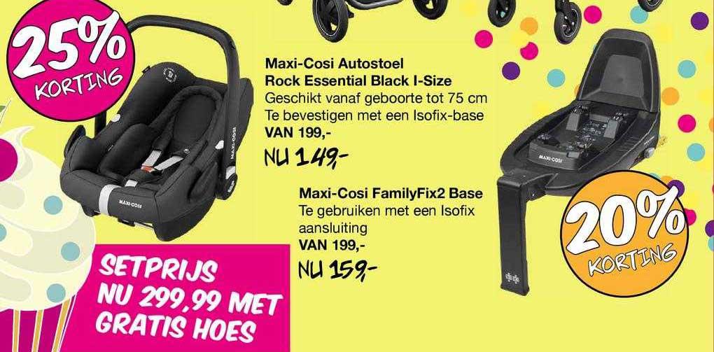 Van Asten Maxi-Cosi Autostoel Rock Essential Black I-Size 25% Korting Of Maxi-Cosi FamilyFix2 Base 20% Korting