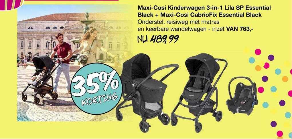 Van Asten Maxi-Cosi Kinderwagen 3-in-1 Lila SP Essential Black + Maxi-Cosi CabrioFix Essential Black 35% Korting