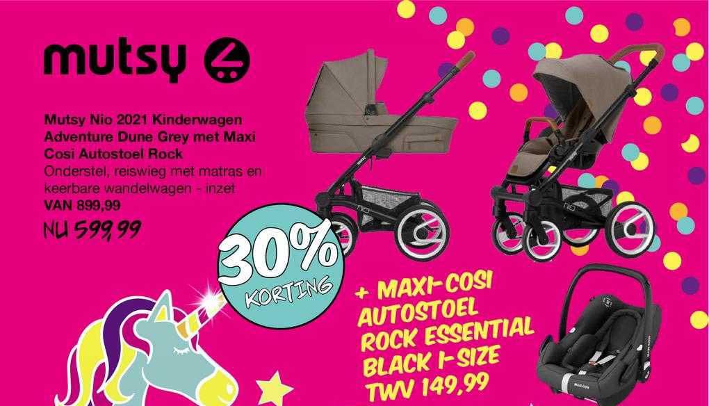 Van Asten Mutsy Nio 2021 Kinderwagen Adventure Dune Grey Met Maxi Cosi Autostoel Rock 30% Korting