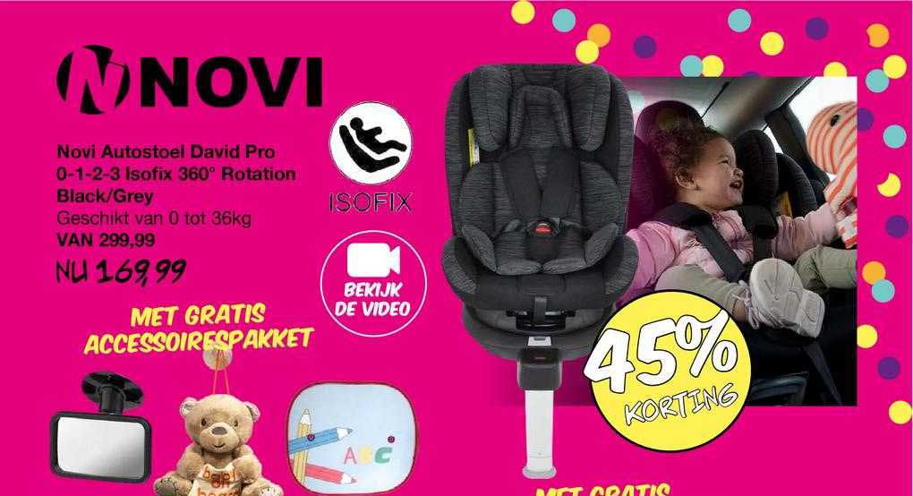 Van Asten Novi Autostoel David Pro 0-1-2-3 Isofix 360º Rotation Black-Grey 45% Korting