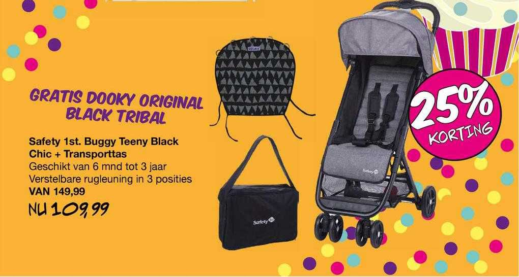 Van Asten Safety 1st. Buggy Teeny Black Chic + Transporttas 25% Korting