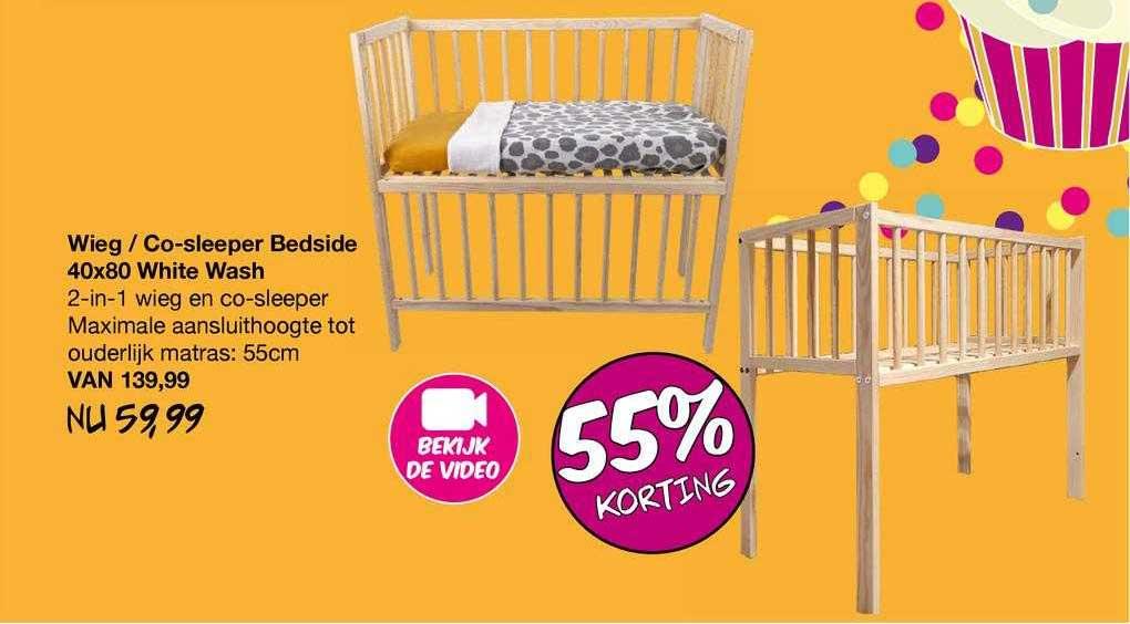 Van Asten Wieg - Co-Sleeper Bedside 40x80 White Wash 55% Korting