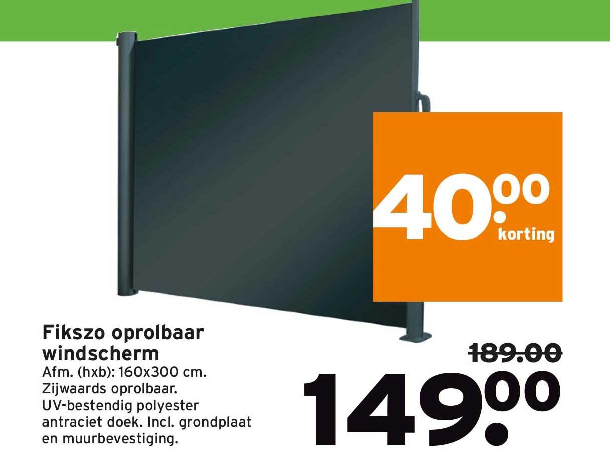 Gamma Fikszo Oprolbaar Windscherm: €40,- Korting