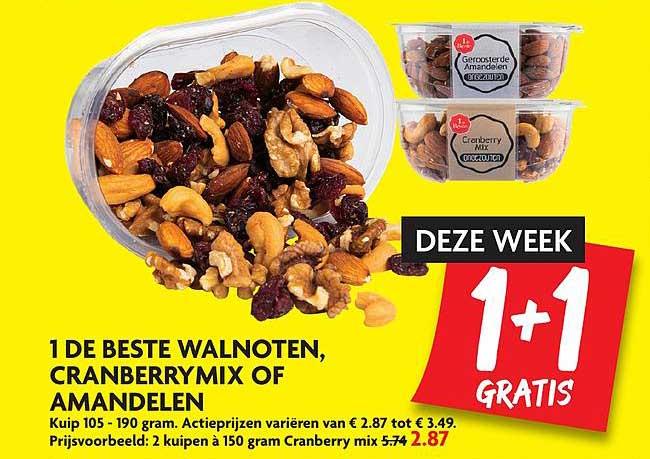 DekaMarkt 1 De Beste Walnoten, Cranberry Mix Of Amandelen 1+1 Gratis