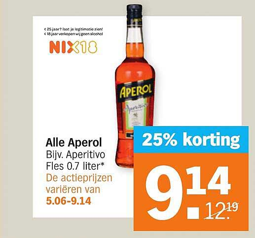 Albert Heijn Alle Aperol 25% Korting