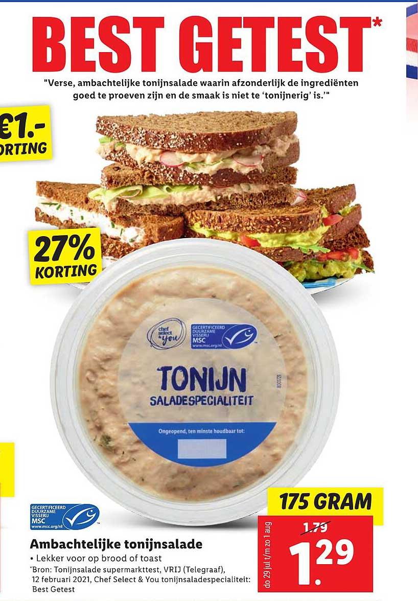 Lidl Ambachtelijke Tonijnsalade 27% Korting
