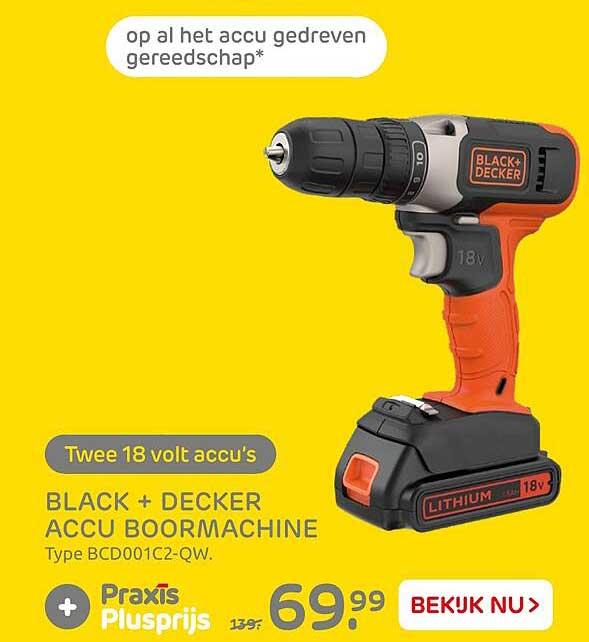 Praxis Black+ Decker Accu Boormachine BDC001C2-QW