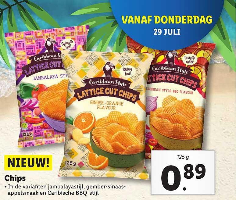 Lidl Caribbean Style Chips : Jambalayastijl, Gember-Sinaasappelsmaak En Caribische BBQ-Stijl