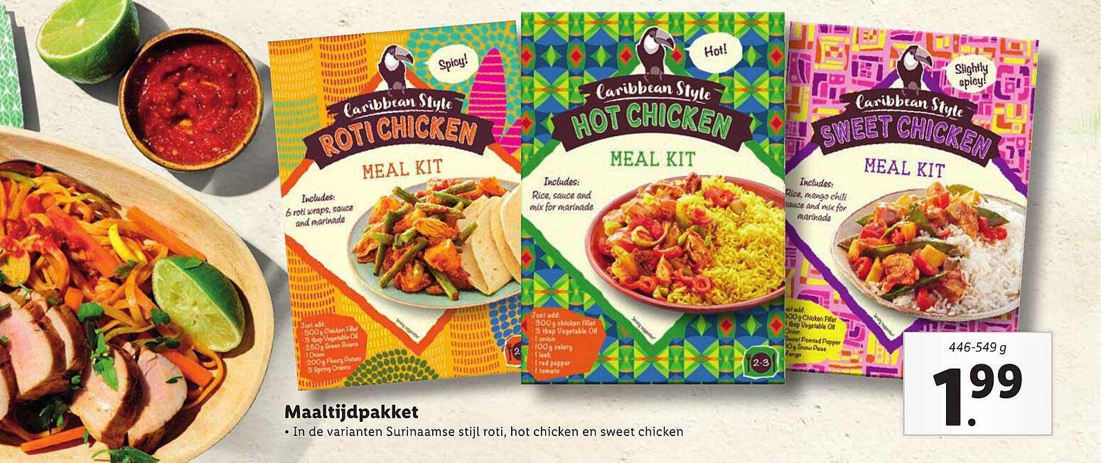 Lidl Caribbean Style Maaltijdpakket : Surinaamse Stijl Roti, Hot Chicken En Sweet Chicken