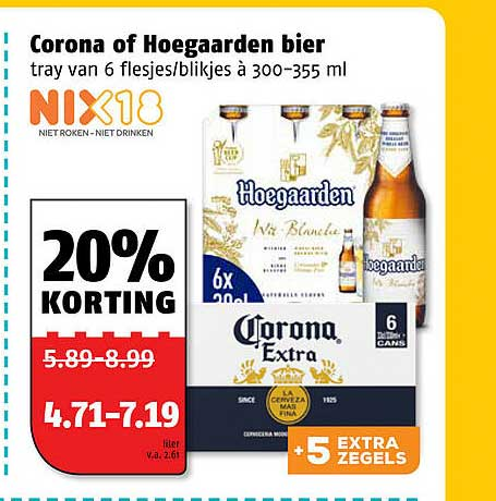 Poiesz Corona Of Hoegaarden Bier 20% Korting