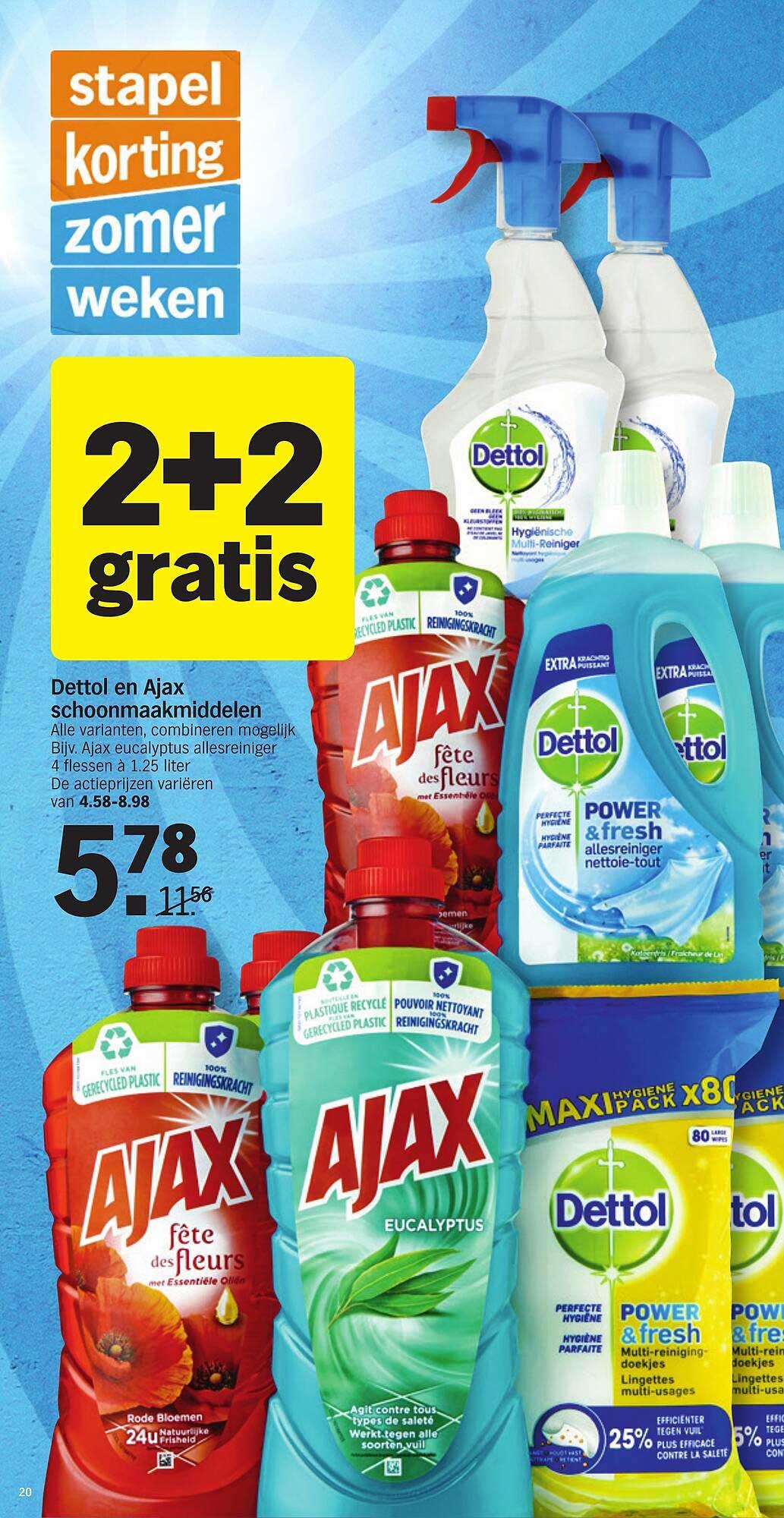 Albert Heijn Dettol En Ajax Schoonmaakmiddelen 2+2 Gratis