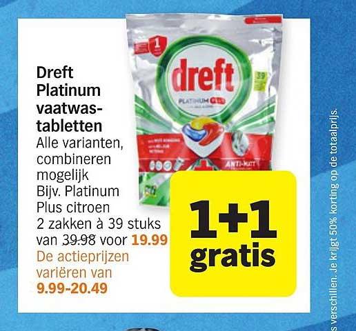 Albert Heijn Dreft Platinum Vaatwastabletten 1+1 Gratis