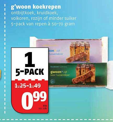 Poiesz G'woon Koekrepen Ontbijtkoek, Kruidkoek, Volkoren, Rozijn Of Minder Suiker