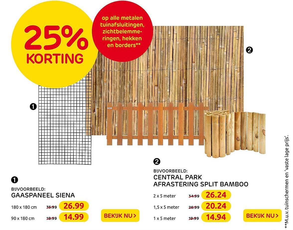 Praxis Gaaspaneel Siena Of Central Park Afrastering Split Bamboo 25% Korting