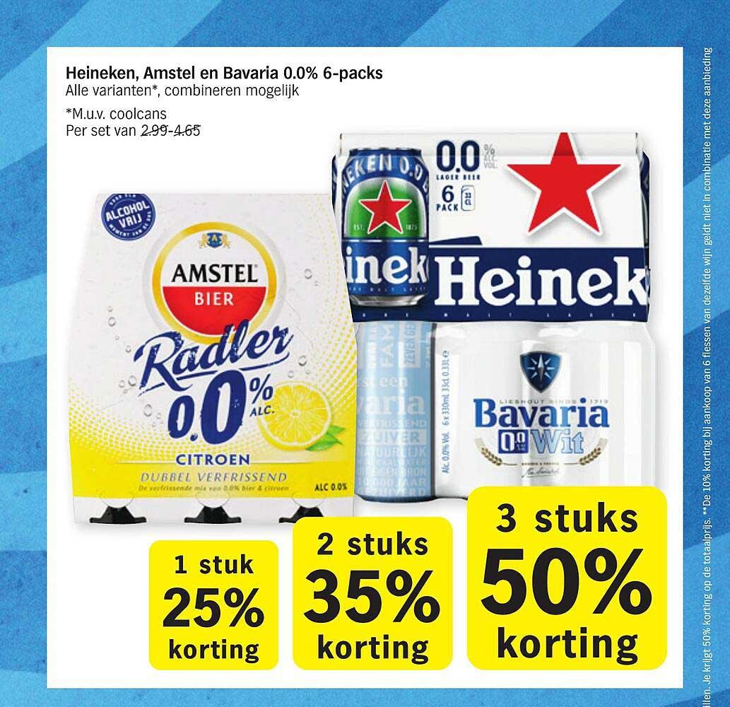 Albert Heijn Heineken, Amstel En Bavaria 0.0% 6-Packs