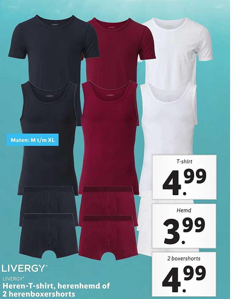 Lidl Livergy Heren-T-Shirt, Herenhemd Of 2 Herenboxershorts