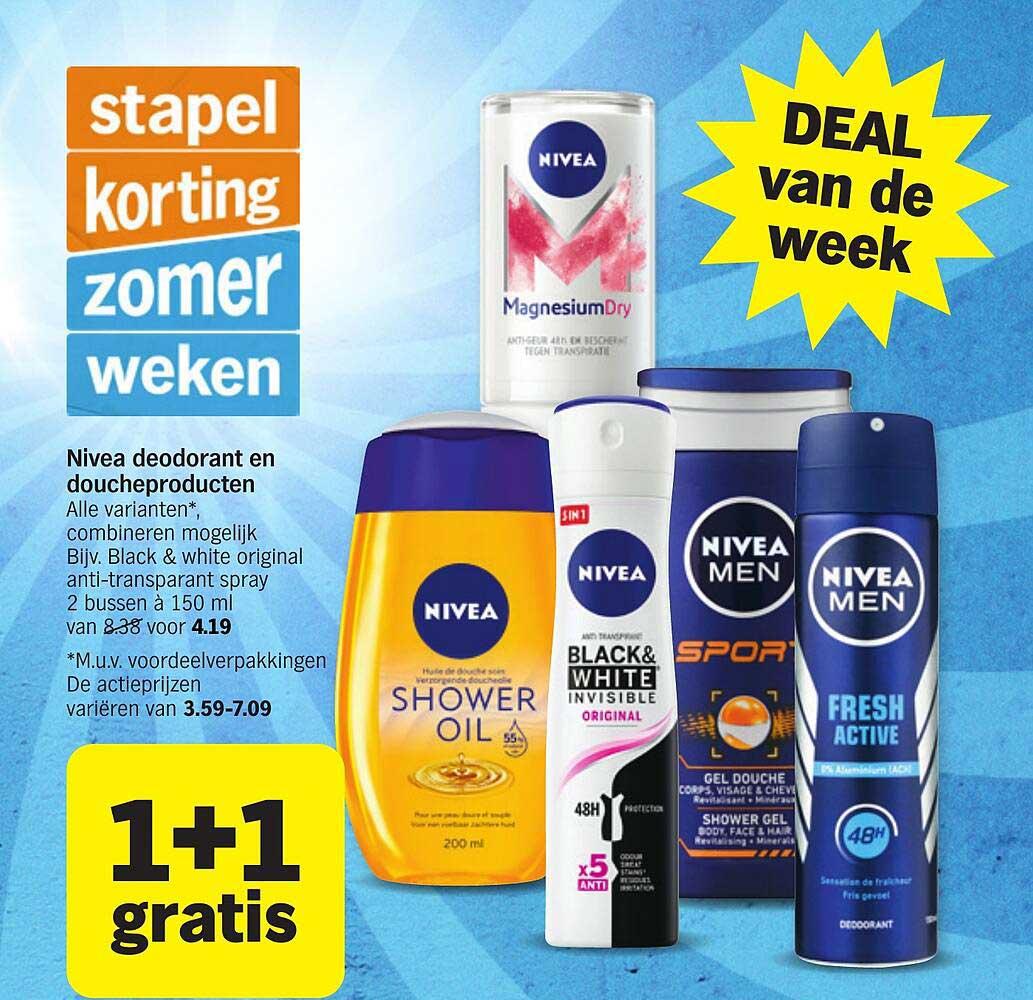 Albert Heijn Nivea Deodorant En Doucheproducten 1+1 Gratis