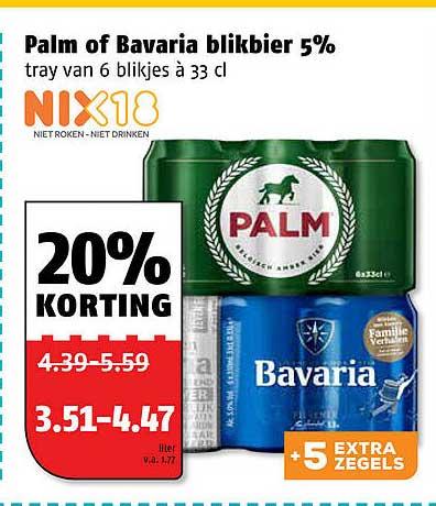 Poiesz Palm Of Bavaria Blikbier 5% 20% Korting