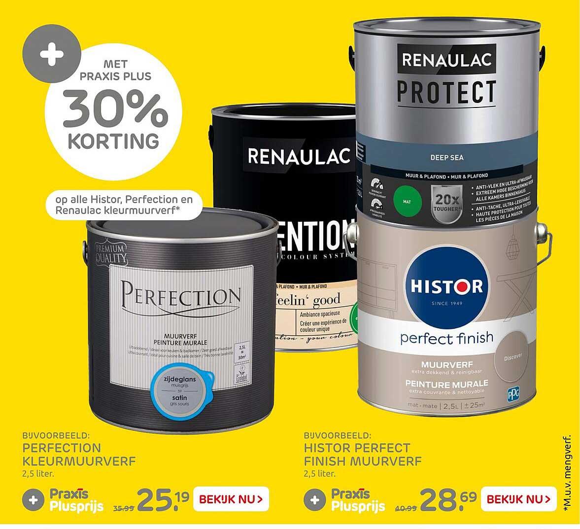 Praxis Perfection Kleurmuurverf Of Histor Perfect Finish Muurverf 30% Korting