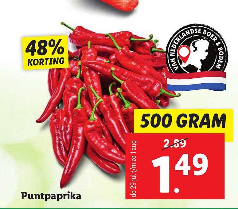 Lidl Puntpaprika 48% Korting