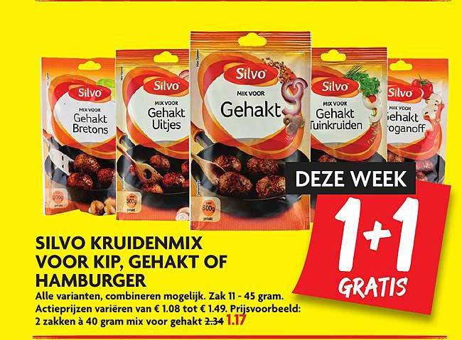 DekaMarkt Silvo Kruidenmix Voor Kip, Gehakt Of Hamburger 1+1 Gratis