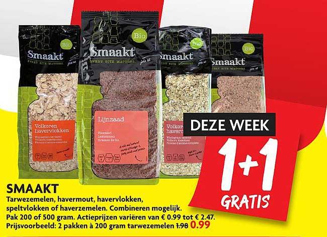 DekaMarkt Smaakt Tarwezemelen, Havermout, Havervlokken, Speltvlokken Of Haverzemelen 1+1 Gratis