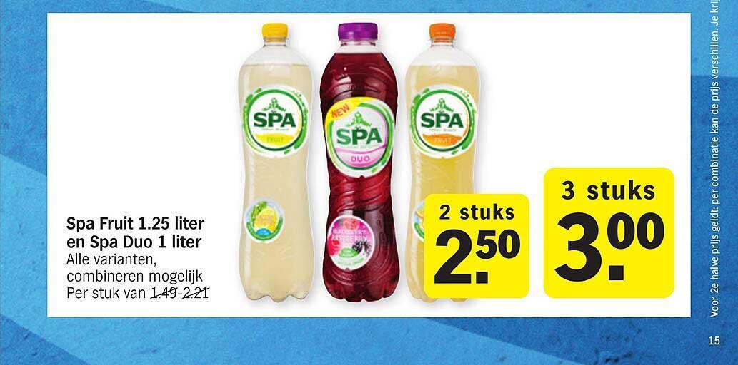 Albert Heijn Spa Fruit 1.25 Liter En Spa Duo 1 Liter